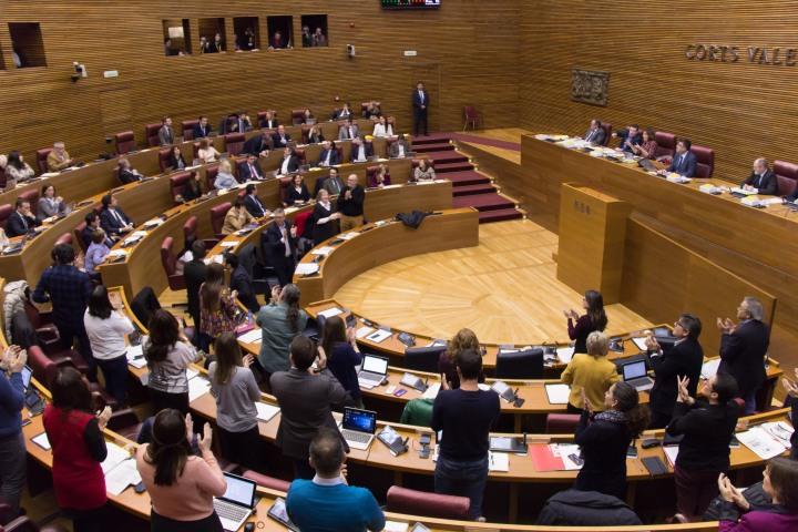 Corts aprueban plurilinguismo Compromis PSPV Podemos aplauso.jpg